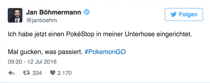 Jan Böhmermann Pokemon go
