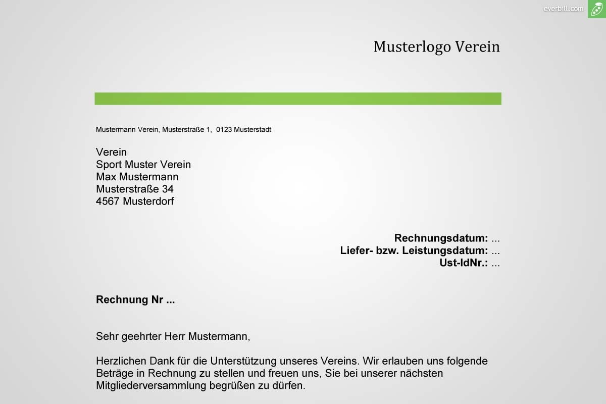 Musterrechnung Verein gratis downloaden - everbill Magazin