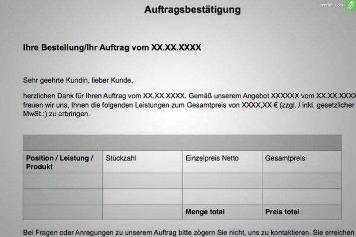 Auftragsbestatigung Vorlage Muster Im Word Und Excel Format