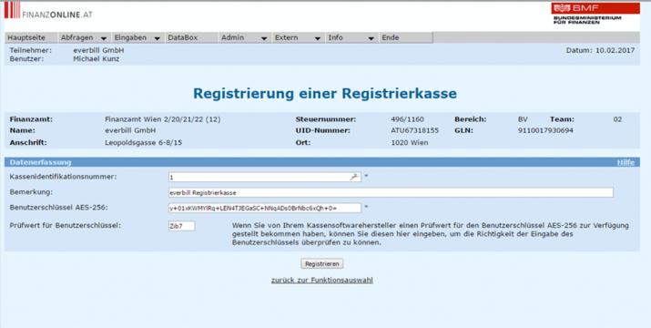 Registrierkassa Anmeldung bei FinanzOnline