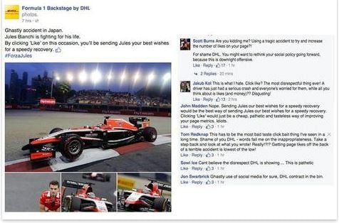 formel 1 dhl facebook fail