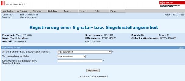 Registrierung Signatur registrierkassa