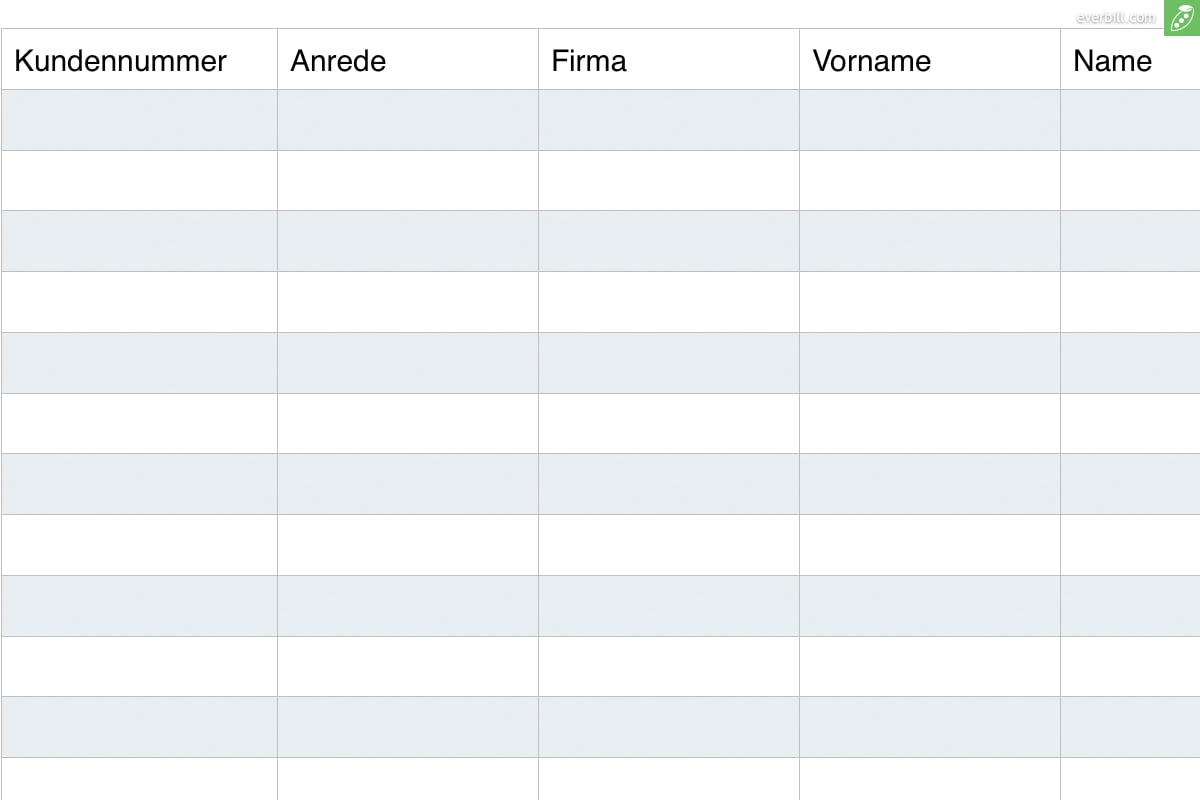 Kundenverwaltung Kostenlose Excel Vorlage Zum Download Everbill